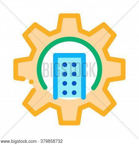 Smart House Mechanical Gear Icon Vector. Smart House Mechanical Gear Sign. Color Symbol Illustration
