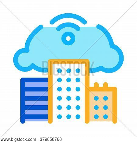 Smart House Cloud Wifi Icon Vector. Smart House Cloud Wifi Sign. Color Symbol Illustration