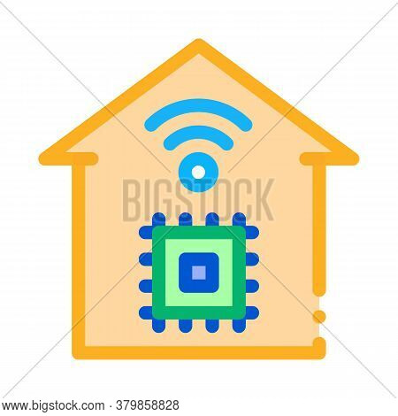 Smart House Chip Wifi Icon Vector. Smart House Chip Wifi Sign. Color Symbol Illustration