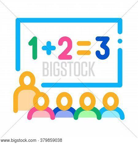 Preschool Class Children Education Mathematics Icon Vector. Preschool Class Children Education Mathe