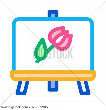 Painted Picture Flower Icon Vector. Painted Picture Flower Sign. Color Symbol Illustration