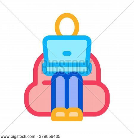 Employee Working With Laptop Icon Vector. Employee Working With Laptop Sign. Color Symbol Illustrati