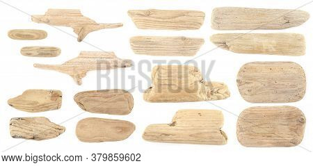 Set Of Driftwood Isolated On White Background. Pieces Of Sea Drift Wood.