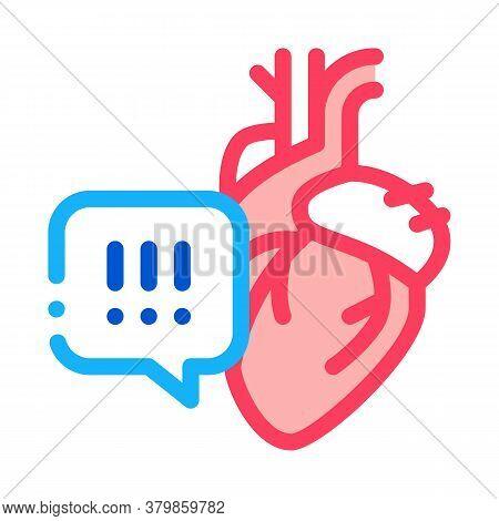 Heart Disease Exclamation Mark Icon Vector. Heart Disease Exclamation Mark Sign. Color Symbol Illust