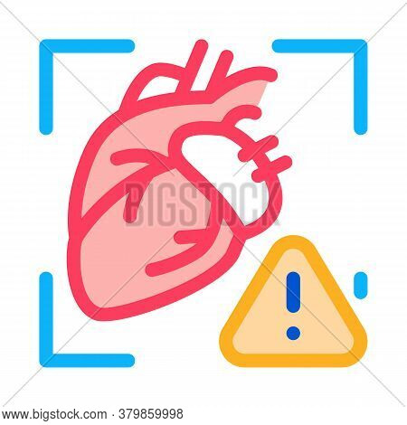 Heart Disease Attention Icon Vector. Heart Disease Attention Sign. Color Symbol Illustration
