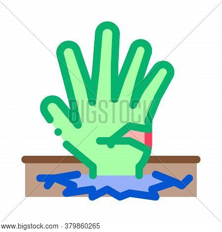 Halloween Hand Sticking From Earth Icon Vector. Halloween Hand Sticking From Earth Sign. Color Symbo