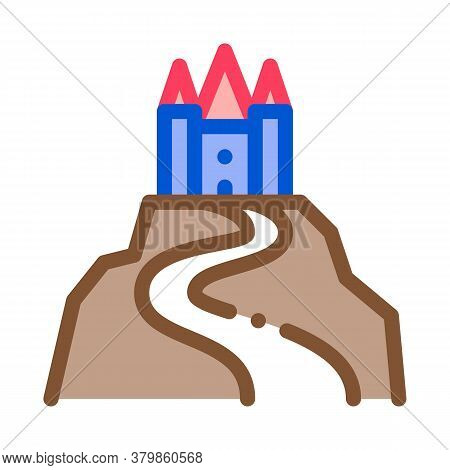 Castle On Hill Icon Vector. Castle On Hill Sign. Color Symbol Illustration