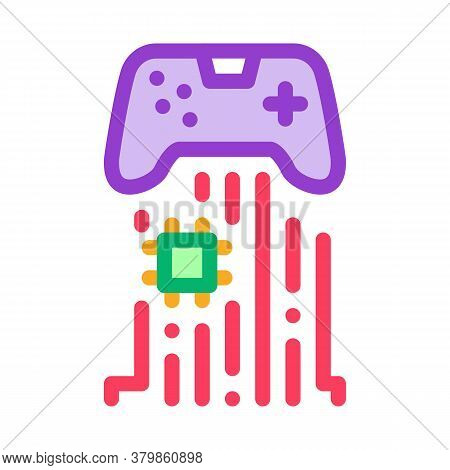 Game Controller Chip Icon Vector. Game Controller Chip Sign. Color Symbol Illustration