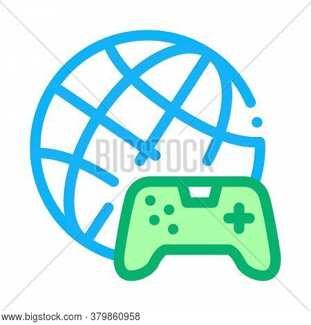 Worldwide Playing Game Icon Vector. Worldwide Playing Game Sign. Color Symbol Illustration