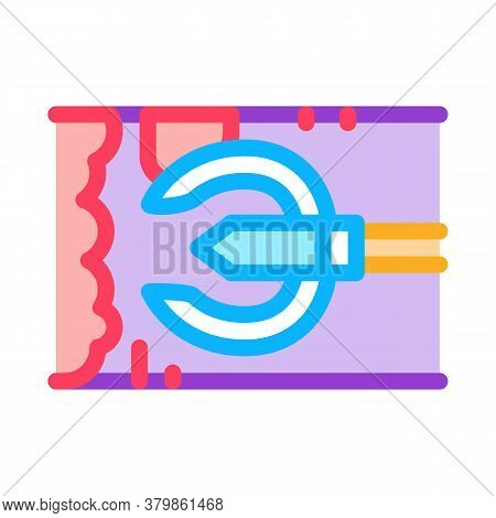 Drain Cleaning Tool In Pipe Icon Vector. Drain Cleaning Tool In Pipe Sign. Color Symbol Illustration