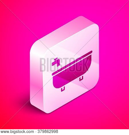 Isometric Bathtub Icon Isolated On Pink Background. Silver Square Button. Vector Illustration