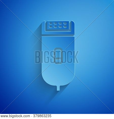 Paper Cut Electrical Hair Clipper Or Shaver Icon Isolated On Blue Background. Barbershop Symbol. Pap