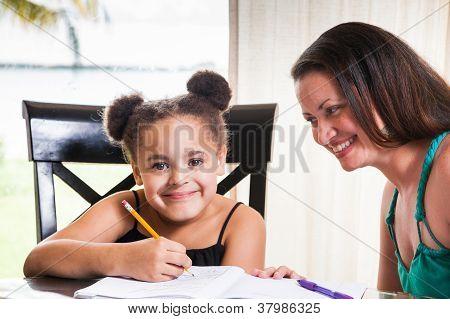 Mom Teaching Daughter