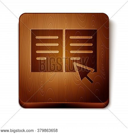 Brown Online Book Icon Isolated On White Background. Internet Education Concept, E-learning Resource