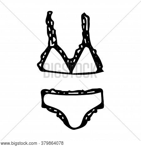 Doodle Drawing Separate Swimsuit Circle, Bra And Briefs, Black Line On White Isolated Background, Su