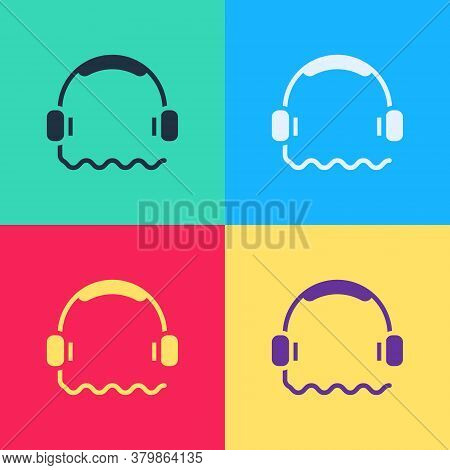 Pop Art Headphones Icon Isolated On Color Background. Support Customer Service, Hotline, Call Center