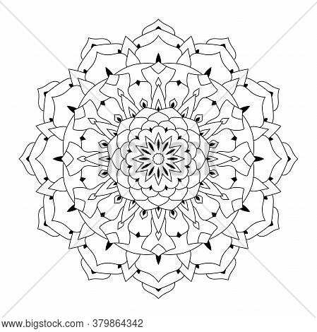 Outline Round Mandala Ornament Isolated On White Background. Floral Oriental Pattern For Tattoo, Wed