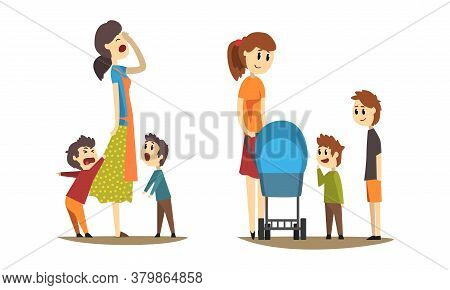 Young Mothers Walking With Little Kids Set, Tired Stressed Mom With Naughty Sons, Cheerful Mother Wi