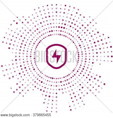Purple Secure Shield With Lightning Icon Isolated On White Background. Security, Safety, Protection,