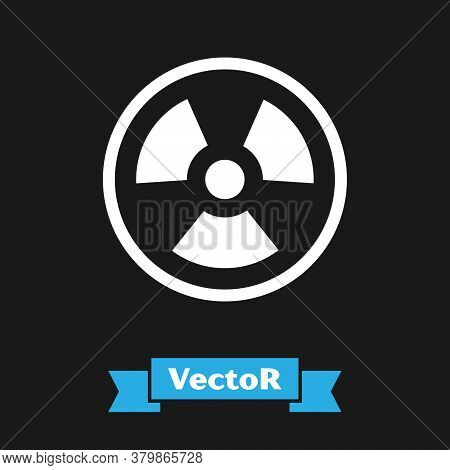 White Radioactive Icon Isolated On Black Background. Radioactive Toxic Symbol. Radiation Hazard Sign