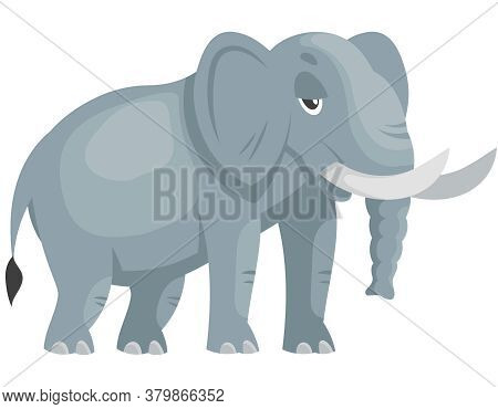 Standing Elephant Three Quarter View. African Animal In Cartoon Style.