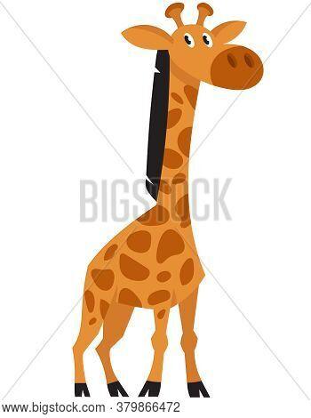 Standing Giraffe Three Quarter View. African Animal In Cartoon Style.