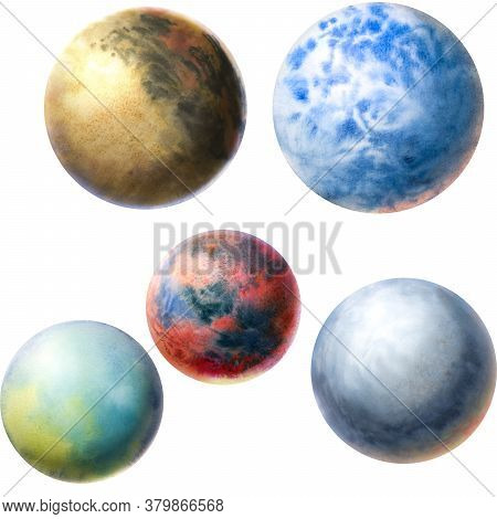 Painted Planets. Set Of Watercolor Blue, Red And Brown Planets. Watercolor Hand Drawn Abstract Plane