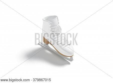 Blank White Ice Skates With Blade And Lace Mockup, Isolated, 3d Rendering. Empty Leather Shoe For Fi