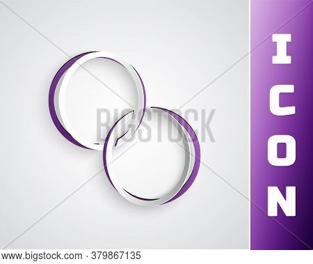 Paper Cut Wedding Rings Icon Isolated On Grey Background. Bride And Groom Jewelry Sign. Marriage Sym