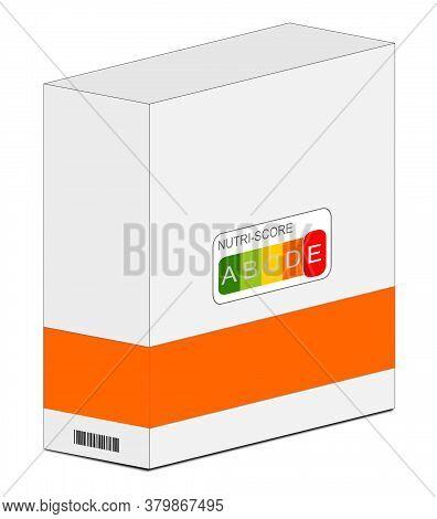Nutri-score Label E On A Carton Orange, 5-colour Nutrition Label - 3d Illustration