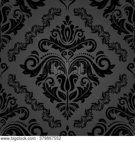 Classic Seamless Vector Dark Pattern. Damask Orient Ornament. Classic Vintage Background. Orient Orn
