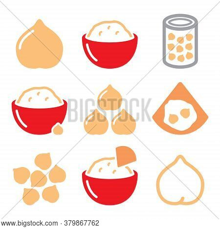 Hummus Or Houmous , Chickpeas Vector Icons Set - Food, Healthy Eating Concept