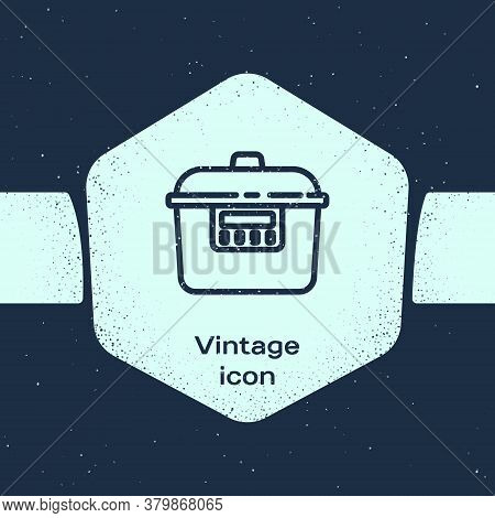 Grunge Line Slow Cooker Icon Isolated On Blue Background. Electric Pan. Monochrome Vintage Drawing.