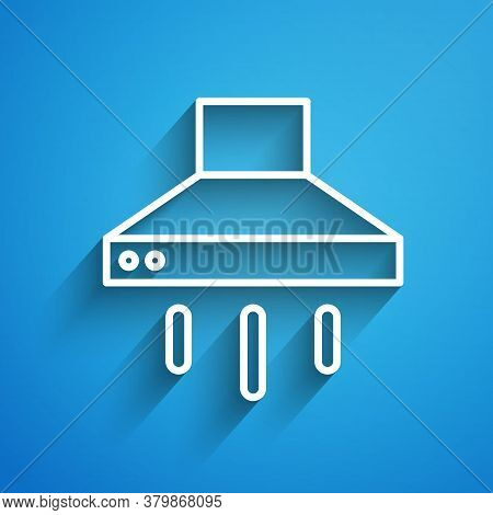 White Line Kitchen Extractor Fan Icon Isolated On Blue Background. Cooker Hood. Kitchen Exhaust. Hou