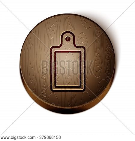 Brown Line Cutting Board Icon Isolated On White Background. Chopping Board Symbol. Wooden Circle But
