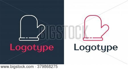 Logotype Line Oven Glove Icon Isolated On White Background. Kitchen Potholder Sign. Cooking Glove. L