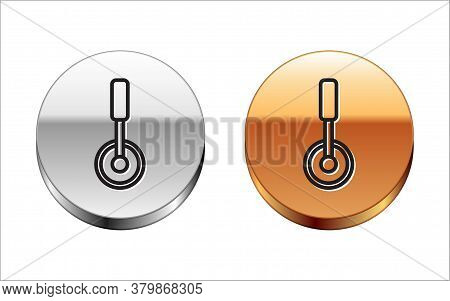 Black Line Pizza Knife Icon Isolated On White Background. Pizza Cutter Sign. Steel Kitchenware Equip