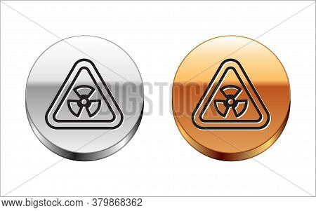 Black Line Triangle Sign With Radiation Symbol Icon Isolated On White Background. Silver-gold Circle