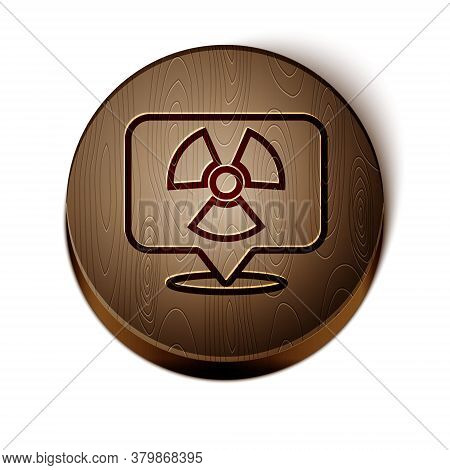 Brown Line Radioactive In Location Icon Isolated On White Background. Radioactive Toxic Symbol. Radi