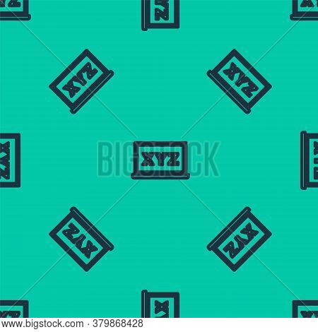 Blue Line Xyz Coordinate System On Chalkboard Icon Isolated Seamless Pattern On Green Background. Xy