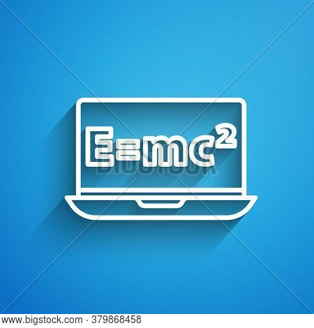 White Line Math System Of Equation Solution On Laptop Icon Isolated On Blue Background. E Equals Mc