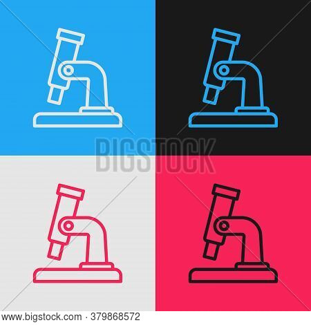 Pop Art Line Microscope Icon Isolated On Color Background. Chemistry, Pharmaceutical Instrument, Mic