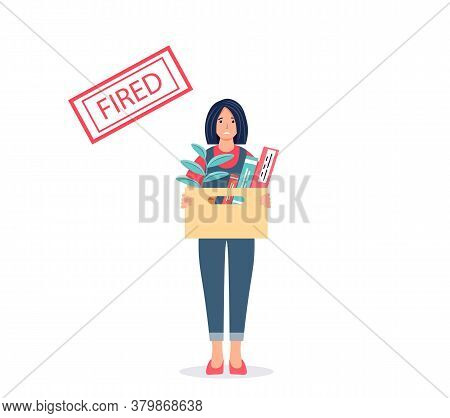 Dismissal Concept. Fired Sad Young Woman With A Box Of Things. Unemployment, Crisis, Job Cuts. Femal