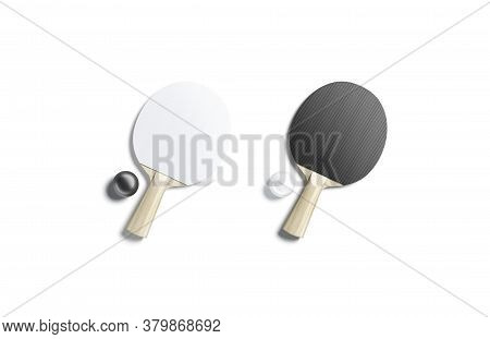 Blank Black And White Table Tennis Racket With Ball Mockup Set, 3d Rendering. Empty Ping-pong Racque
