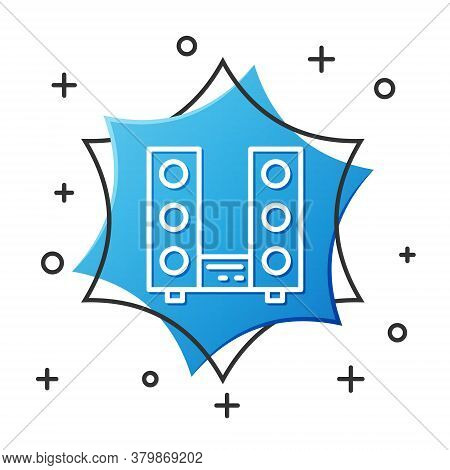 White Line Home Stereo With Two Speaker S Icon Isolated On White Background. Music System. Blue Hexa