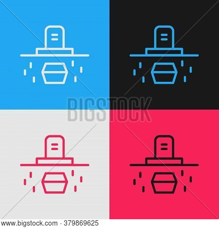 Pop Art Line Grave With Tombstone And Coffin Icon Isolated On Color Background. Vector