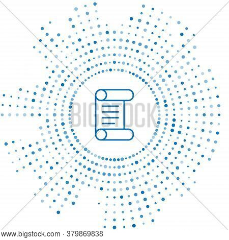 Blue Line Decree, Paper, Parchment, Scroll Icon Icon Isolated On White Background. Abstract Circle R