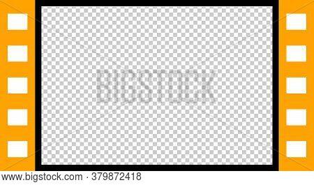Film Strip Orange Template For Video Media Player, Transparent Background, Window Multimedia Panel T