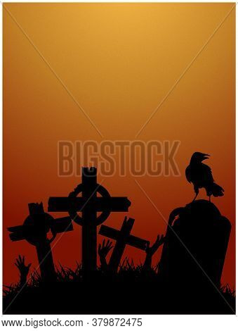 Creepy Halloween Red And Yellow Background With Graveyard Tombs Zombie Hands And Crow Black Silhouet
