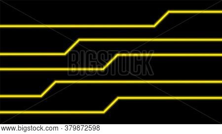 Line Glow Yellow On Black Background, Modern Line Glowing Yellow For Technology Concept, Neon Effect